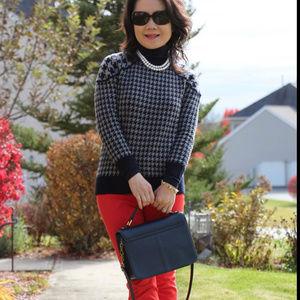 J crew sz XL merino wool checkered tippi sweater